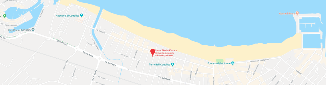 The position of the Hotel Giulio Cesare in Cattolica